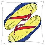 BXBX Kissenbezug (20x20 Zoll) - Flip Flops Sandalen Flip-Flop Tanga Schuhe Strand