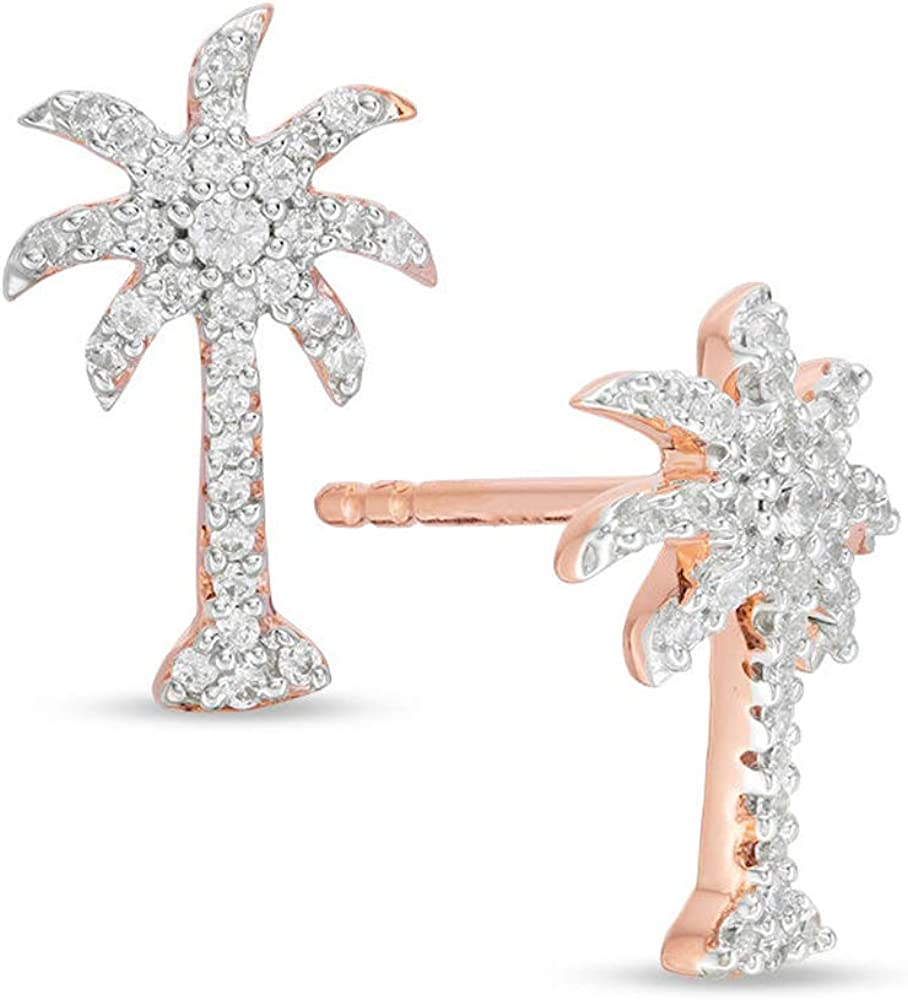 1 2 CT. T.W. Rapid rise Round shipfree Clear CZ Palm Diamond Stud Earrings Tree For