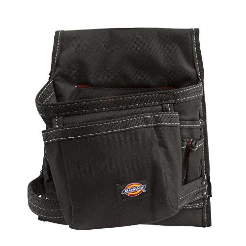 Dickies Work Gear 8-Pocket Canvas Tool and Utility Pouch for Work Belts, Fastener Pocket, Hammer Loops, 2-inch Belt Loop, Black (57075)