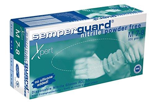 Semperguard 816780635/3000001628 Xpert Einmalschutzhandschuh aus Nitrillatex, puderfrei, Chemikalienspritzschutz, Größe M, 7-8, Grün/Blau (100 er-Pack)