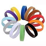 AMATHINGS 12 teiliges Welpenhalsband in weichem Klett in 20 cm Länge (Größe S) 12 Farben Wiederverwendbar Beschriftbar Für Züchter Welpenhalsbänder