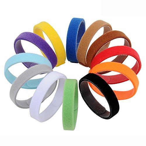 AMATHINGS 12 teiliges Welpenhalsband in weichem Klett in 30 cm Länge (Größe M) 12 Farben Wiederverwendbar Beschriftbar für Züchter Welpenhalsbänder