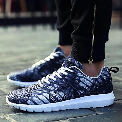Fnho Calzado para Correr por Carretera,Zapatos de Gimnasia Zapatos Ligeros,Pareja de Zapatos Deportivos, Zapatos de Malla de Camuflaje-Gris_46
