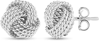 LeCalla Sterling Silver Jewelry Italian Design Diamond Cut Wire Love Knot Stud Earring for Women