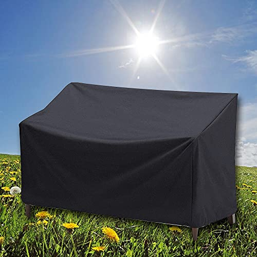 Garden Bench Cover, Waterproof 2 Seater Outdoor Bench Seat Covers Heavy Duty Windproof Patio Furniture Cover, Anti-UV Tear Resistant 210D Oxford Fabric Rattan Protector Cover (134x66x89/63cm) - Black