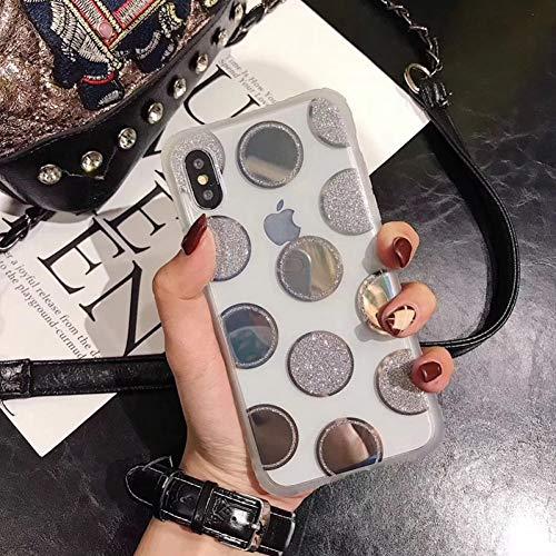 SFJUL telefoonhoesje voor glitter zacht telefoonhoesje voor iPhone X XS Max XR Polka Dot Love Heart Bling Case voor iPhone 7 8 6 6s Plus beschermhoes Funda, For iPhone XS MAX, ZILVER