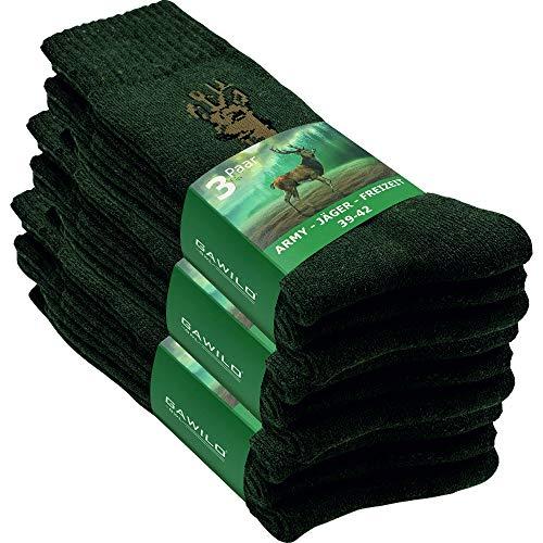 GAWILO 9 Paar stabile Army - Jäger - Freizeit Socken aus strapazierfähiger Baumwolle (39-42, grün)