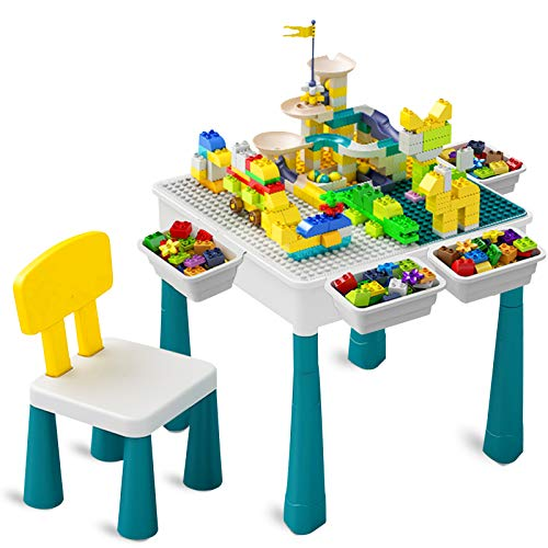 Toddler Activity Table Kids Table amp Chair Set AllinOne Multi Activity Playset Compatible Building Block and Water Table Outdoor Play Sand Table 100PCS Track  130PCS Large Building Blocks