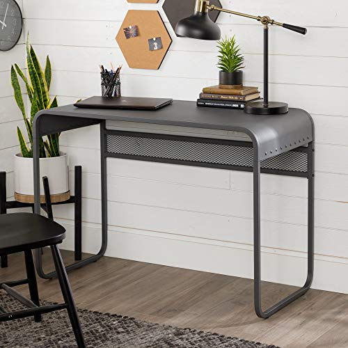 Walker Edison Modern Metal Curved Laptop Computer Writing Desk Home Office Workstation Small, 42 Inch, Gunmetal Grey