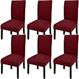 GoodtoU Chair Covers for Dining Room Chair Covers Dining Chair Covers (Set of 6, Wine Red)