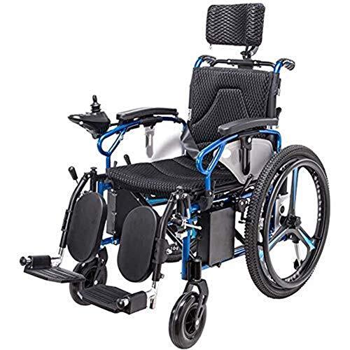 Leichte Elektrische Rollstühle, Elektro-Rollstuhl faltbare Leichte Kopfstütze, Elektro-Rollstuhl, Mobil Stuhl, Sitzbreite 46 cm, verstellbare Rückenlehne und Pedalwinkel, 360 ° Joystick, Tragfähigkeit