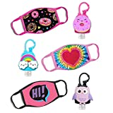 ABG Accessories Girls 3-Pack Kids Face Mask and Hand Sanitizer Holder Keychain (Flip Cap Reusable Empty Bottles) Age3-7, Rainbow Design, Age 3-7
