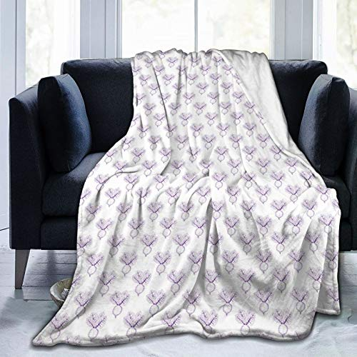 NCRJCZQL Ultra-Soft Micro Fleece Blanket,Monochrome Repeating Simplistic Food Pattern With Sketchy Drawn Beetroots,Home Decor Warm Throw Blanket for Couch Bed 60'X 50'