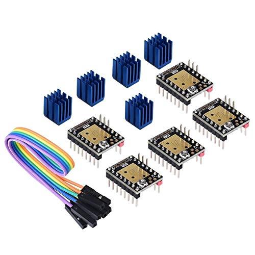 Auoeer 3D Printer Part Stepstick Mute Tmc2208 V3.0 Stepper Motor Driver With Heatsink For Skr V1.3 Mks Gen L Ramps 1.4/1.5/1.6 3D Printer Control Board(Pack Of 5Pcs) (Uart Mode)