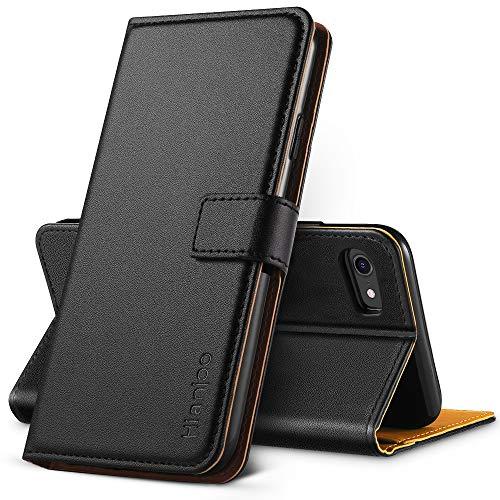 Hianjoo Funda Compatible con iPhone SE 2020 4,7 , Suave PU Cuero Carcasa con Flip Case Cover, Cierre Magnético, Función de Soporte, Billetera con Tapa Tarjetas Compatible con iPhone 7 8, Negro