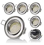 sweet-led set 6 x flache Einbaustrahler LED, 230V, 3,5W, Schwenkbar, Rund, Chrom gebürstet, 350 lumen, Warmweiß