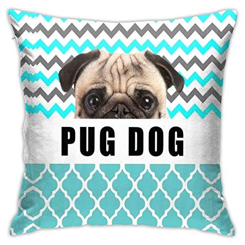 MZZhuBao Cozy Plush Blue White Gray Chevron Cute Pug Dog Pillow Case Cushion Throw Square Cover Home Sofa Decorative 18 X18inch