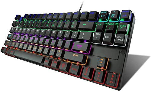 STOGA Mechanical Gaming Keyboard, Anti Ghosting USB Wired Gaming Keyboard with 87 Keys, Alloy Base, 10 Kinds of Backlight Modes LED Backlit