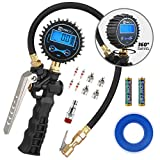 WYNNsky Tire Inflator with Digital Pressure Gauge, 0-200PSI, Brass Lock-On Air Chuck, 23 Inch Compressor Hose, Valve Core and Slotted Slot Valve Cap, Seal Tape