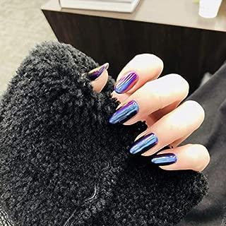 Yeemoo 24Pcs Metallic Mirror False Nails Medium Length Full Cover Fake Nails with Design Blue violet light