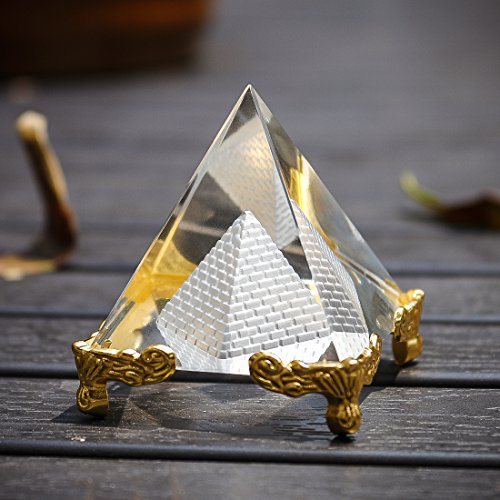 H&D Pyramid Prism 2.4'- Meditation Crystals Home Art Decor Feng Shui for Prosperity Positive Energy with Gold Stand(Style-5)