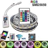 5m 10m 15m Tira de luz LED impermeable SMD 5050 RGB Control remoto de luz Adaptador de corriente tira de led set-RGB_5M