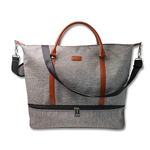 Duffel Bag with Shoe Compartment, Gym Bag, Overnight Bag for Man, Canvas Travel Bag, Weekender for Women, Duffle Holdall