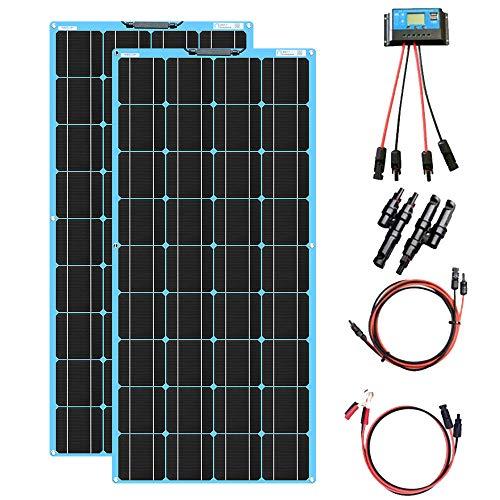 XINPUGUANG 200W Solar Kit 2st 100w 18v flexibele zonnepanelen fotovoltaïsche PV monokristallijne module 20A zonneregelaar voor jacht, camper, auto, boot, caravan, 12v acculader