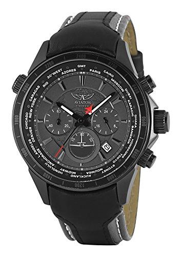De caballero Aviator F Serie Cronógrafo Hora Mundial Reloj AVW9169G155