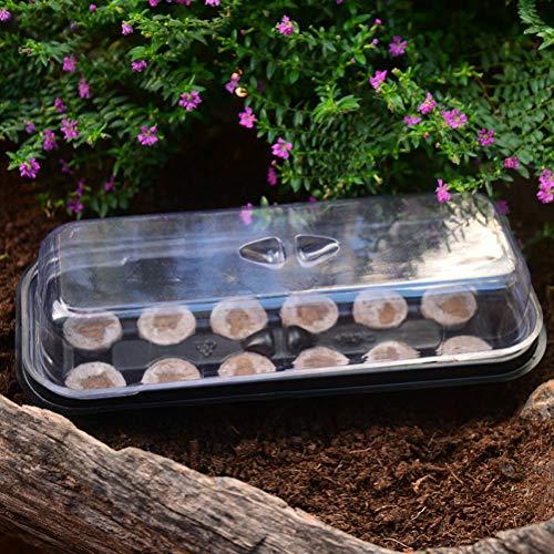 Suszian Plateau de pépinière de semences avec 12 pcs Jiffy Blocks Jardin pépinière en Plastique Plateau de semis Grow Planting Jardinage Tool