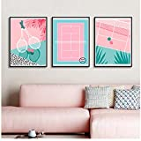 QYH Nordic Style Cute Poster Pink Baseball Field Baseball Bat Canvas Painting Wall Art Print for Living Room Home Decor Unframed 60x80cm No Frame
