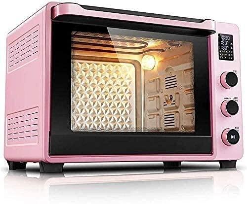 Horno multifunción,Mini Horno eléctrico con Placa calefactora,Horno para Hornear Pasteles para el hogar,Pantalla LED automática para Horno Tostador encimera 40 l (Color:Rosa)