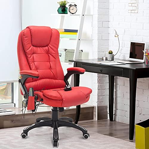 JLKDF Silla de computadora de Oficina Masaje Calor Cuero Ruedas reclinables Control Remoto Giratorio (Color: Rojo)