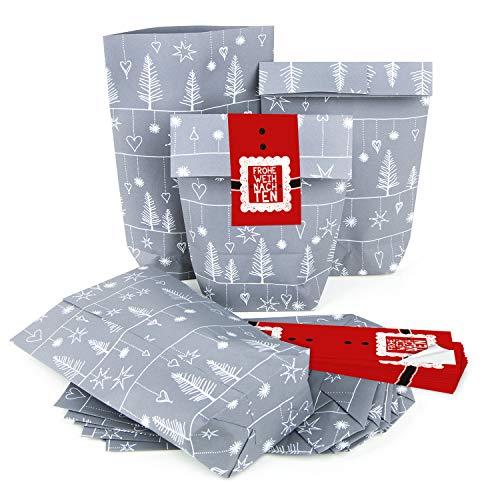 10 x Weihnachtsverpackung Papiertüte Weihnachten SILBER GRAU WEISS ROT Hohoho + 10 Weihnachtsaufkleber - Verpackung Geschenke Geschenkpapier weihnachtlich