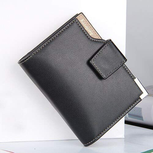 New Business men's wallet Short vertical Male Coin Purse casual multi-function card Holders bag zipper buckle triangle folding-2662 Black