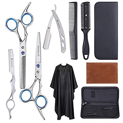 10Pcs Hair Cutting Scissors Set - Professional Hair Scissors Set, Salon Stainless Steel Scissors with Feather Razor, Thinning Shears, Razor Comb, Hair Shears Professional.