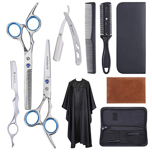 Marhaba AS Professional Hair Cutting Scissors for men and women,10 Pieces Hair Scissors kit for Haircut, Hair Shears for Home and Salon, Stainless Steel Scissors with Cape and Feather Razor