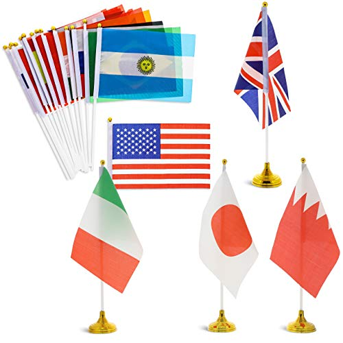 Juvale - Juego de 24 banderas de países de todo el mundo con soporte para el escritorio, decoración para la mesa - bandera de 30,48 x21,08 cm