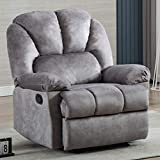 Bonzy Home Velvet Recliner Chair, Overstuffed Heavy Duty Fabric Recliner Chair, Breathable Home Theater Seating, Reclining Sofa Chair for Bedroom & Living Room (Grey)
