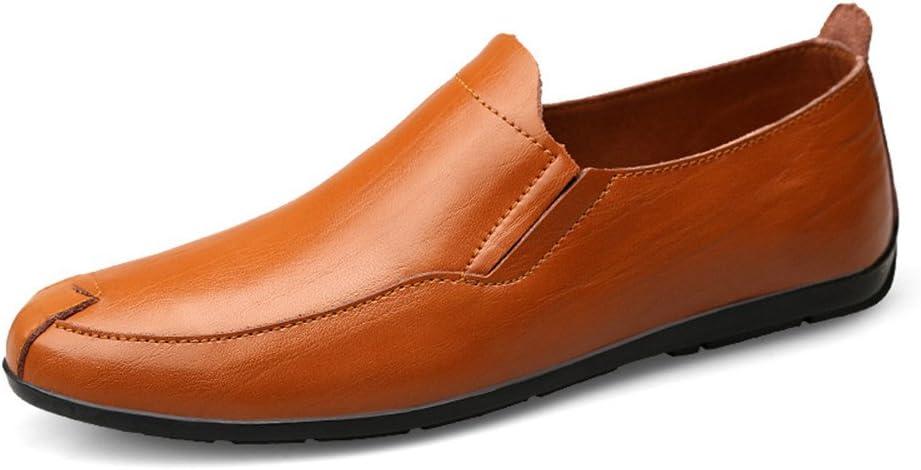 HUN Men's Flat Heel Moccasins Genuine Leather Vamp Slip on Driving Style Loafer (Color : Red Brown, Size : 41 EU)