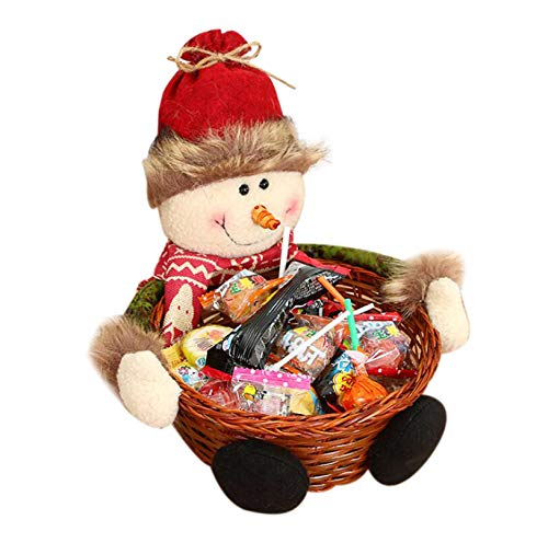 Camisin Merry Christmas Candy Wicker Basket Christmas Decorations Fruit Basket Food Holder Home Decor, Snowman
