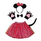 Set Costume da Topolina Minnie - bambina - Tutu - Cerchietto - guanti - papillon - coda - Travestimento - Accessori - Carnevale - Halloween - Colore Rosso - Idea regalo per natale e compleanno