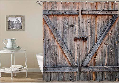 Twee antieke houten deurtjes met spijkers waterdicht, gemakkelijk te reinigen. 12 haken gratis 3D HD-druk niet vervagen. Douchegordijn, 180 x 180 cm
