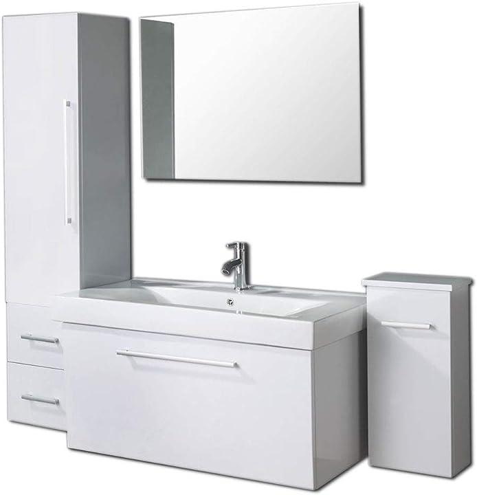 Mobile bagno arredobagno 100 cm lavabo, rubinetto e 2 colonne grafica ma.ro srl B074G1ZMG7