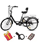 TWTW Adult Tricycle Bike,Adult Trike for Seniors,7 Speed 24 Inch Tricycle with Basket,Adult