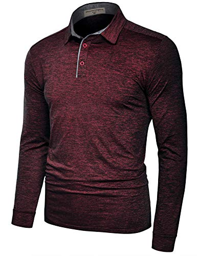 Derminpro Men's Polo Shirts Slim Fit Big & Tall Long Sleeve Quick Dry Golf Athletic T-Shirts Wine XX-Large
