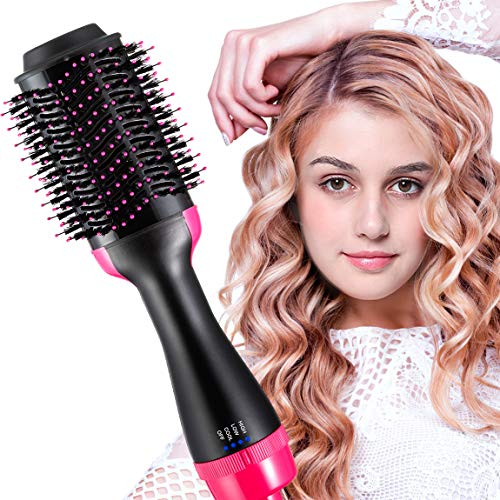 Hair Dryer Brush Hot Air Brush 2 In 1 One Step Best Hair Dryer & Volumizer Negative Ion Hot Air Blow Dry Brush Upgraded Electric Brush, Dry Straighten & Curl for All Hair Types (pink$black)