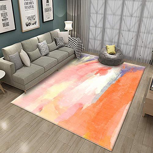 Simmia Home Alfombra De Salón Diseño Moderna Render Naranja Gris Blanco 60...
