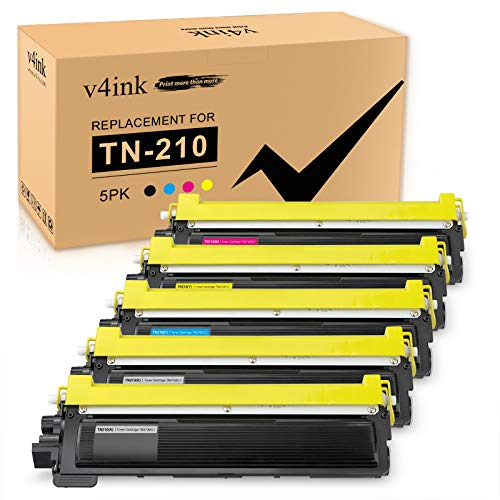 V4INK New Replacement for TN210 TN-210 Toner Cartridge 2KCMY, 5 Pack for use with Brother HL-3070CW HL-3075CW HL-3040CN HL-3045CN DCP-9010CN MFC-9320CW MFC-9325CW MFC-9010CN MFC-9125CN Printer