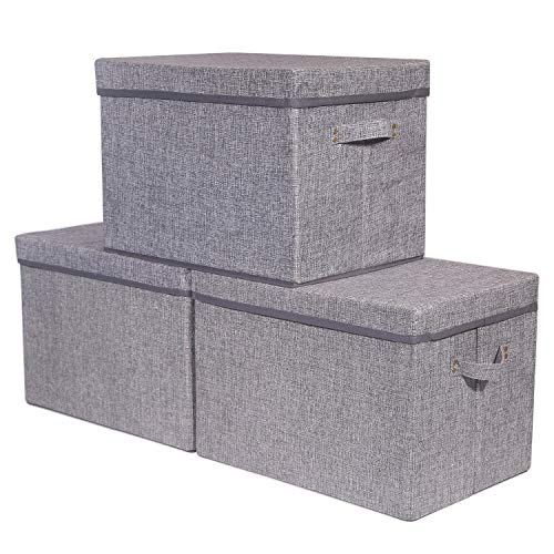 3 Pack Large Foldable Storage Box with Lids [16.5x11.8x11.8] Fabric Storage Cube Organizer Cloth Containers Linen Bins Baskets for Closet Clothes Clothing Kids Room Nursery Toys Baby Products Bed Room